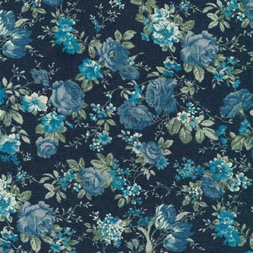Tela patchwork de fondo azul marino con flores azules