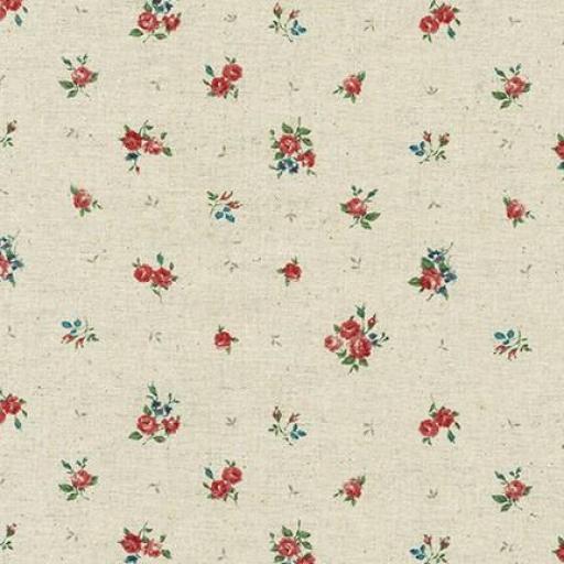 Tela patchwork de fondo crudo con flores rosas