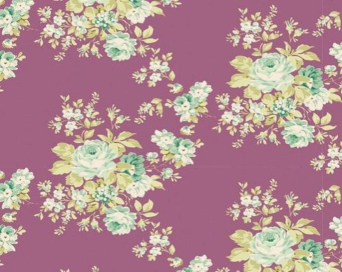 Tela patchwork fondo malva con flores Tilda