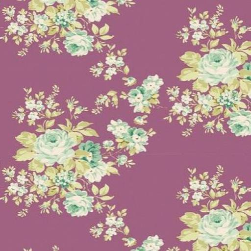 Tela patchwork fondo malva con flores Tilda [0]