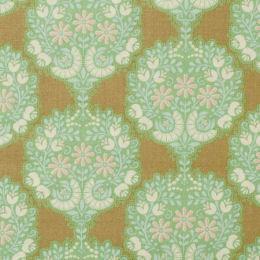 Tela patchwork fondo verde con flores Tilda