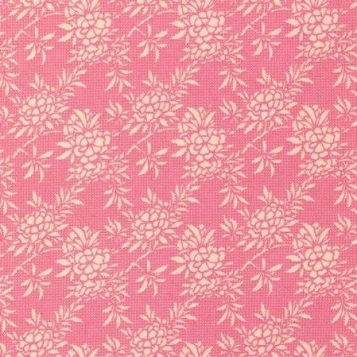 Tela patchwork fondo rosa con flores claras