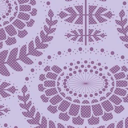 Tela patchwork fondo lila con flores grandes Tilda