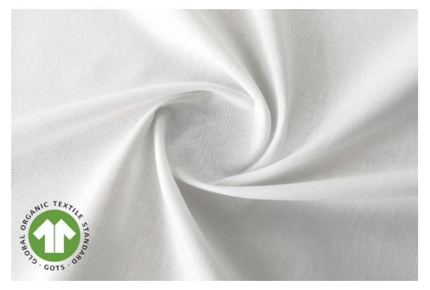 Tela algodón popelín hidrófugo y antibacteriano blanco