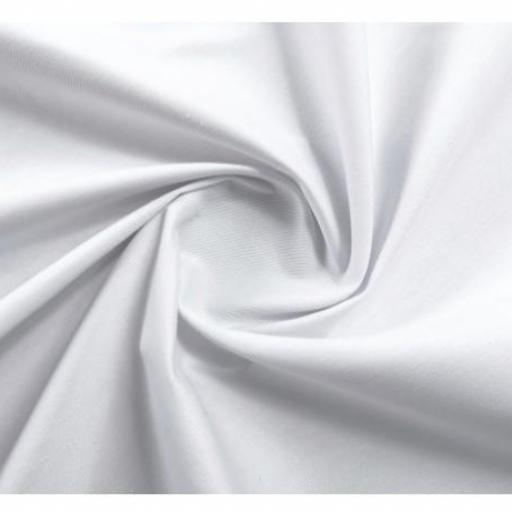 Tela algodón sarga hidrófuga antibacteriana blanca
