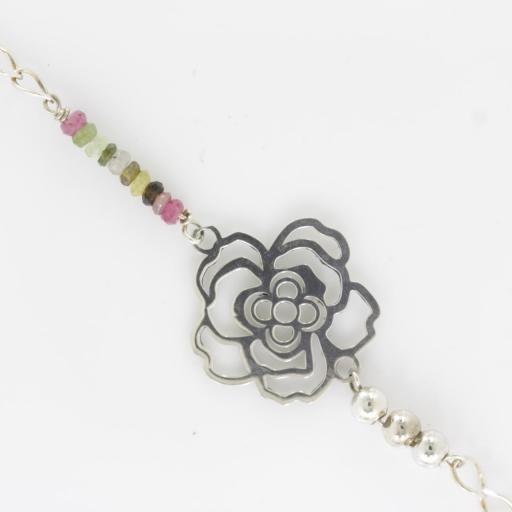 Pulsera flor en plata de ley