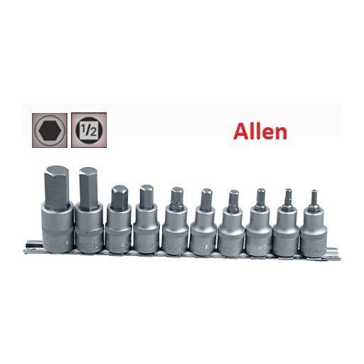 """Juego Vasos ½"""" con Puntas Allen , 10 piezas,  4 mm - 17 mm ( suministrado en raíl metálico)"""