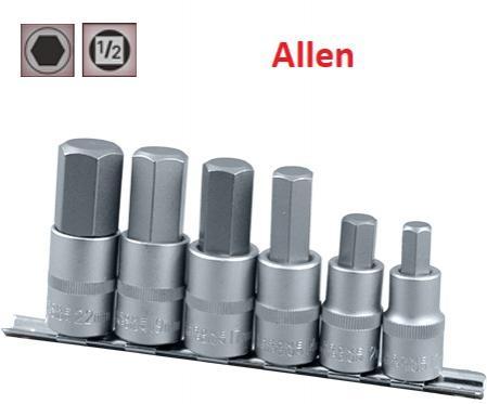 """Juego de Vasos de ½"""" Puntas Allen, 6 piezas  10 mm - 22 mm ( suministrado en raíl metálico)"""