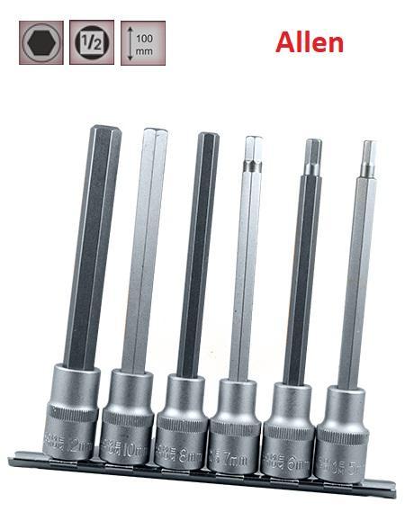"""Juego de Vasos de ½"""" Puntas Allen Extra Largas , 6 piezas  5 mm - 12 mm ( suministrado en raíl metálico)"""