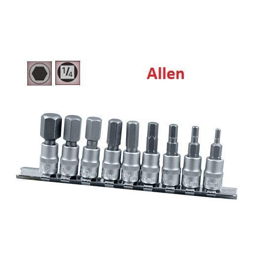 """Juego de Vasos de ¼"""" con Puntas Allen, 9 piezas,  3 mm - 12 mm ( suministrado en raíl metálico)"""