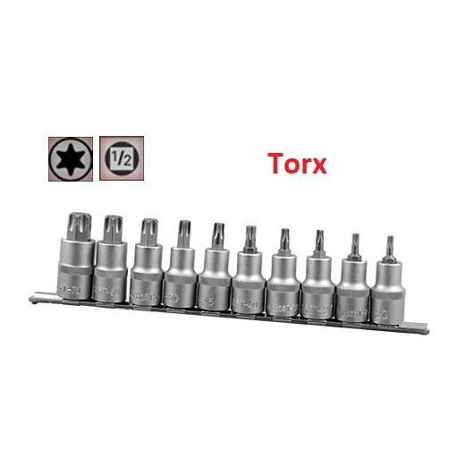 """Juego de Vasos de ½"""" con Puntas Torx, 10 piezas, T20 - T70 ( suministrado en raíl metálico)"""