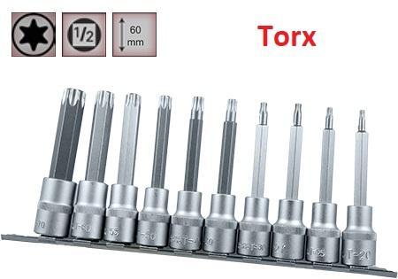 """Juego de Vasos de ½"""" con Puntas Torx Largas 10 piezas, T20 - T70 ( suministrado en raíl metálico)"""