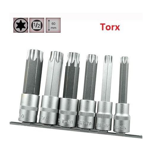 """Juego de Vasos de ½"""" con Puntas Torx, 6 piezas T55 - T100 ( suministrado en raíl metálico)"""