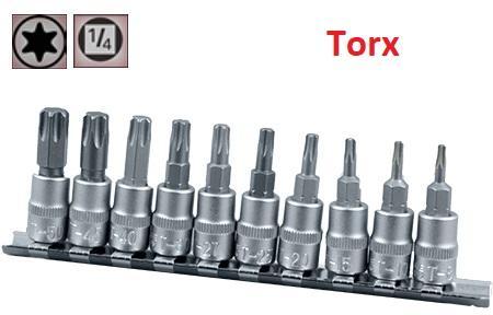 """Juego de Vasos de ¼"""" con Puntas Torx, 10 piezas T8 - T50 ( suministrado en raíl metálico)"""