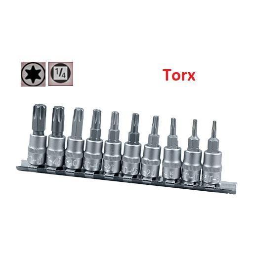 """Juego de Vasos de ¼"""" con Puntas Torx, 10 piezas T8 - T50 ( suministrado en raíl metálico) [0]"""