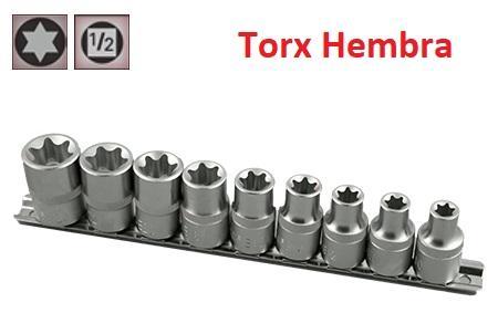 """Juego de Vasos de ½"""" Torx Hembra 9 piezas E10 - E24 ( suministrado en raíl metálico)"""