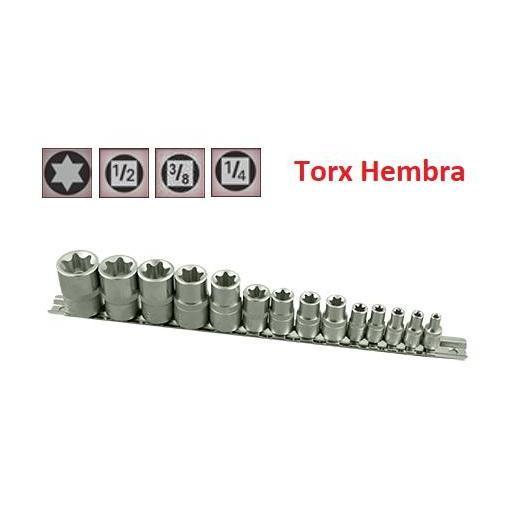"Juego de Vasos de ¼"", ⅜"" y ½"" Torx Hembra 14 piezas E4 - E24 ( suministrado en raíl metálico)"