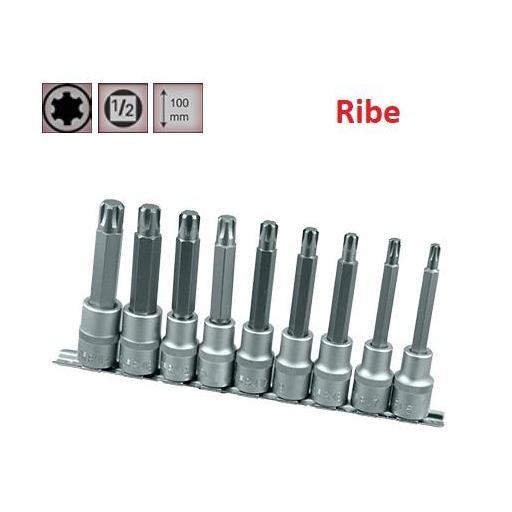 """Juego de Vasos de ½"""" con Puntas Ribe 9 piezas M6 - M14 ( suministrado en raíl metálico)"""