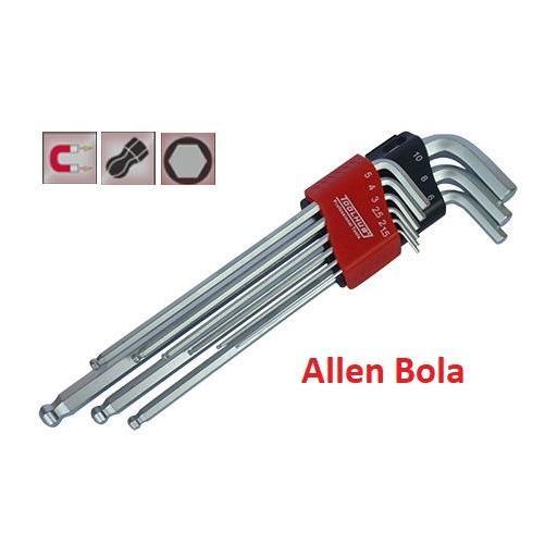 Juego Llave Allen con Punta Bola Extra Larga / Magnética 9 Piezas.