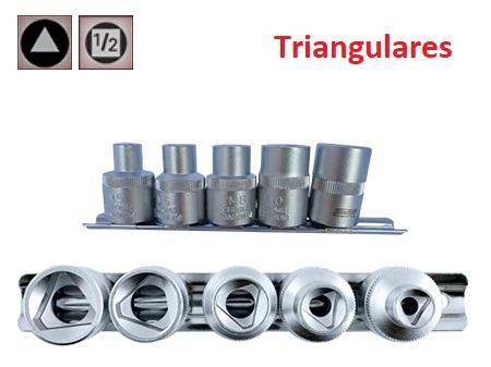 """Juego de Vasos de ½"""" Triangulares  5 Piezas  M5 - M12  (suministrado en riel metálico)"""