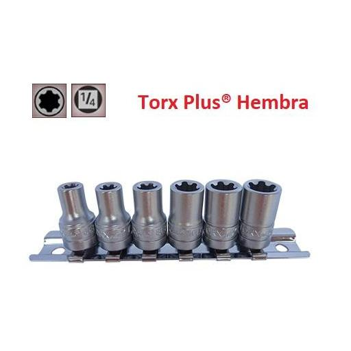 """Juego de Vasos de ¼"""" Torx Plus® Hembra 6 Piezas 6EP - 12EP (suministrado en riel metálico)"""