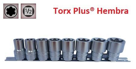 """Juego de Vasos de ½"""" Torx Plus® Hembra 8 Piezas 18EP - 32EP (suministrado en riel metálico)"""