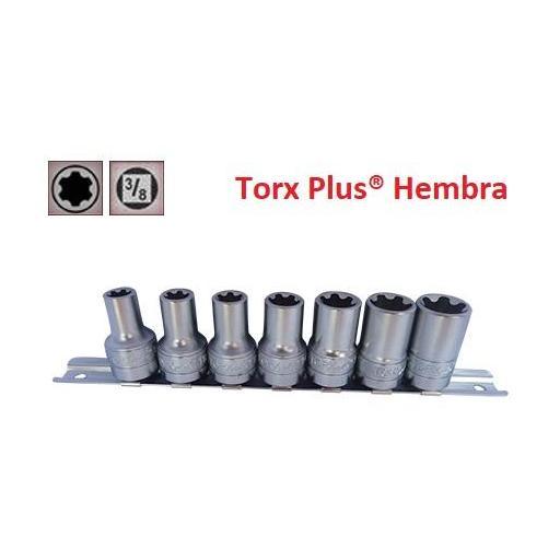 """Juego de Vasos de ⅜""""  Torx Plus® Hembra 7 Piezas  10EP - 20EP  (suministrado en riel metálico)"""