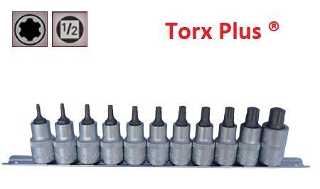"""Juego de Vasos de ½"""" con Puntas Torx Plus 11 Piezas  IP10 - IP60 (suministrado en raíl metálico)"""