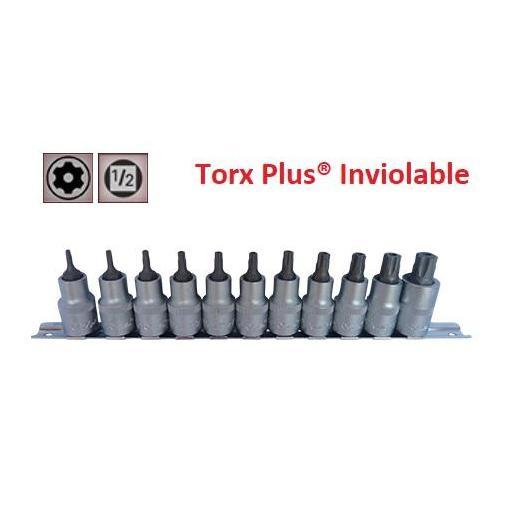 """Juego de Vasos de ½"""" con Puntas Torx Plus Seguridad 11 Piezas IPR10 - IPR60 (suministrado en raíl metálico)"""