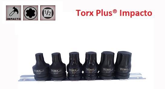 """Juego de Vasos de ½"""" con Puntas de Impacto Torx Plus 6 Piezas IP55 - IP100 (suministrado en raíl metálico)"""