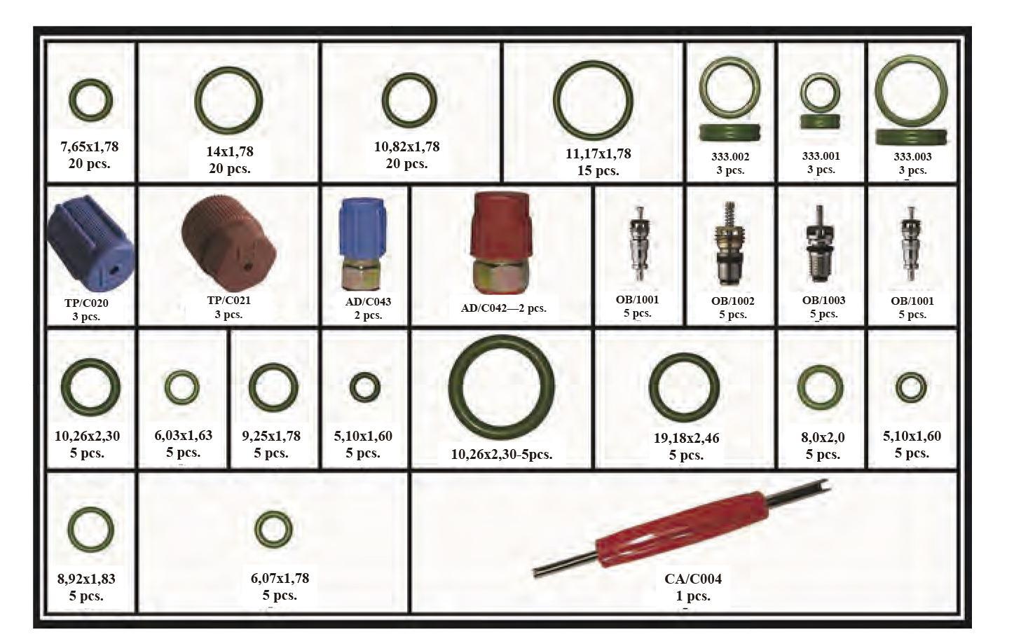 Kit Repuestos de Aire Acondicionado 165 Piezas.