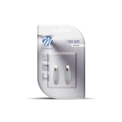 Lámpara LED Plafonier C5W 12V  11x36mm 6 x LED 3mm  Blanco (Blister 2 unidades) [1]