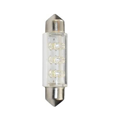 Lámpara LED Plafonier 12V C5W 11x41mm 6 x LED 3mm  Blanco (Blister 2 unidades)
