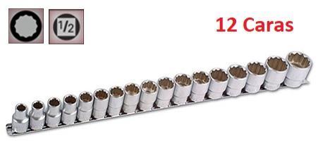 """Juego de Vasos de ½"""" de 12 caras 10 mm - 30 mm  (suministrado en riel metálico)"""