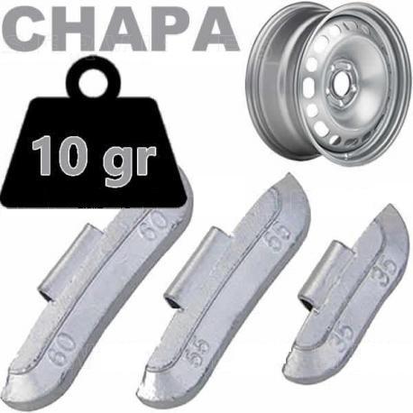 Caja de 100 Contrapesas de clip de 10gr. para llanta de Chapa de Acero.