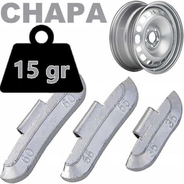 Caja de 100 Contrapesas de clip de 15gr. para llanta de Chapa de Acero.