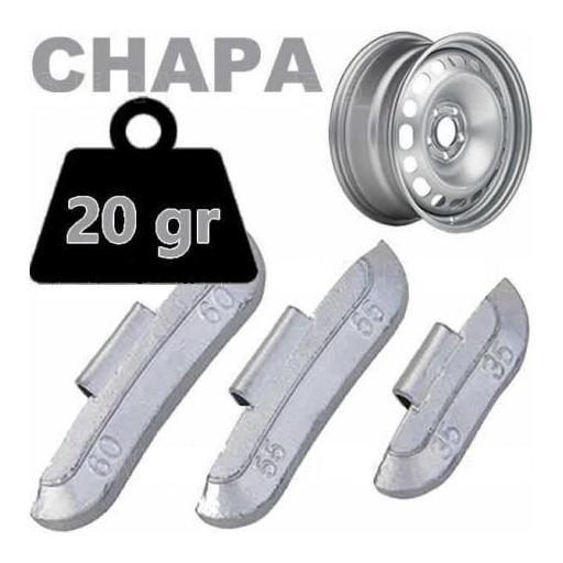 Caja de 100 Contrapesas de clip de 20gr. para llanta de Chapa de Acero.