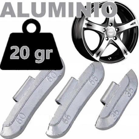 Caja de 100 Contrapesas de clip de 20gr. para llanta de Aluminio.