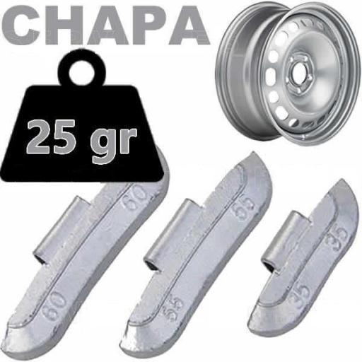 Caja de 100 Contrapesas de clip de 25gr. para llanta de Chapa de Acero.