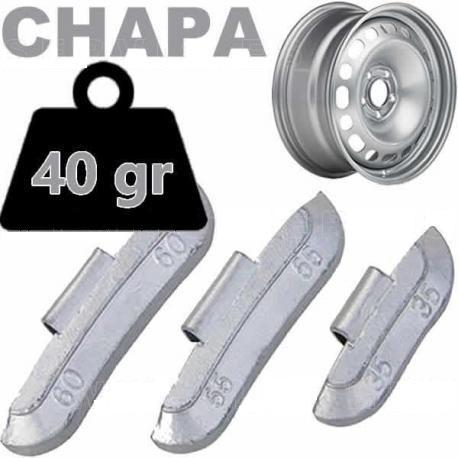 Caja de 50 Contrapesas de clip de 40gr. para llanta de Chapa de Acero.