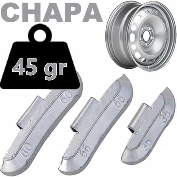 Caja de 50 Contrapesas de clip de 45gr. para llanta de Chapa de Acero.