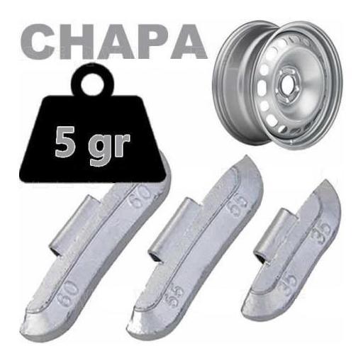 Caja de 100 Contrapesas de clip de 5gr. para llanta de Chapa de Acero.