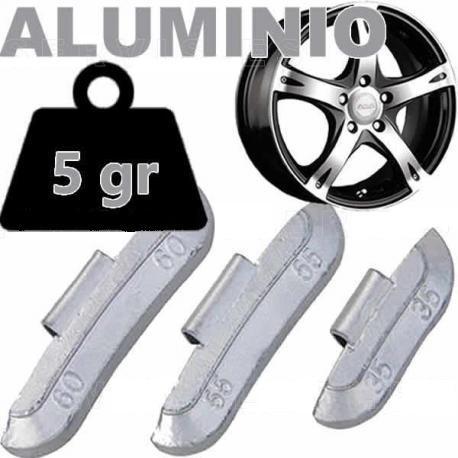 Caja de 100 Contrapesas de clip de 5gr. para llanta de Aluminio.