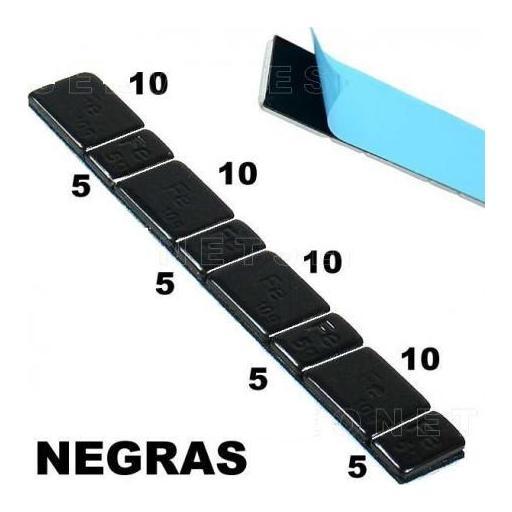 Caja de 100 Contrapesas Adhesivas de Hierro NEGRAS en tiras de 60gr. (5-10-5-10)