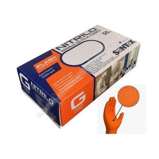Guantes de Nitrilo Naranja sin Polvo Diamantados (50 unidades)