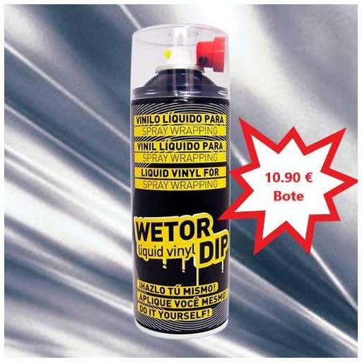Vinilo Liquido CROMADO PLATA METALIZADO Removible en Spray  400 ml.