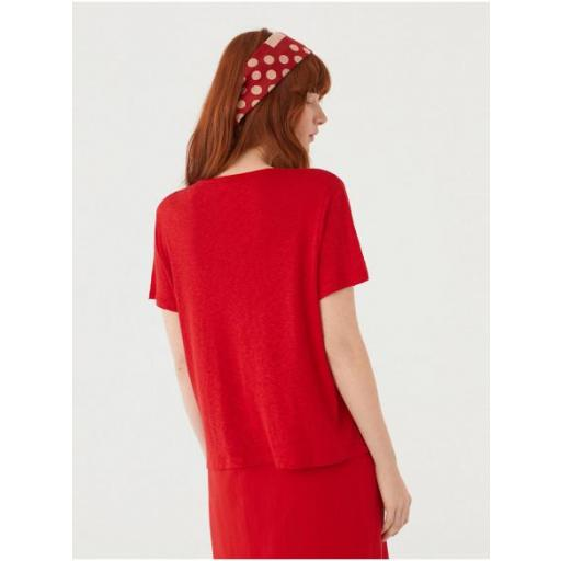 CAMISETA ESCOTE PICO LINO ROJO, NICE THINGS, REF. WJM011 [2]