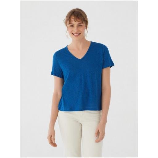CAMISETA ESCOTE PICO LINO AZUL, NICE THINGS, REF. WJM011