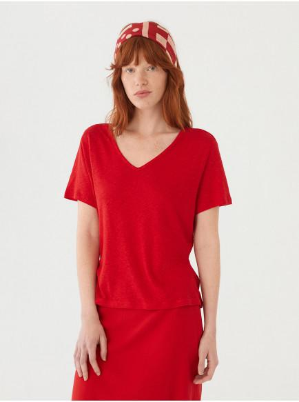 CAMISETA ESCOTE PICO LINO ROJO, NICE THINGS, REF. WJM011