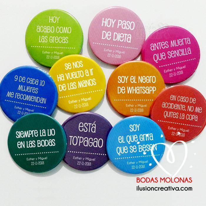 Pack de 80 Chapas PERSONALIZADAS para Bodas con frases divertidas